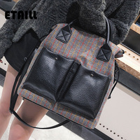 ETAILL Women S Pu Leather Tote Bags Handbags Plaid Red Striped Stitching Famous Designer Bags Newest