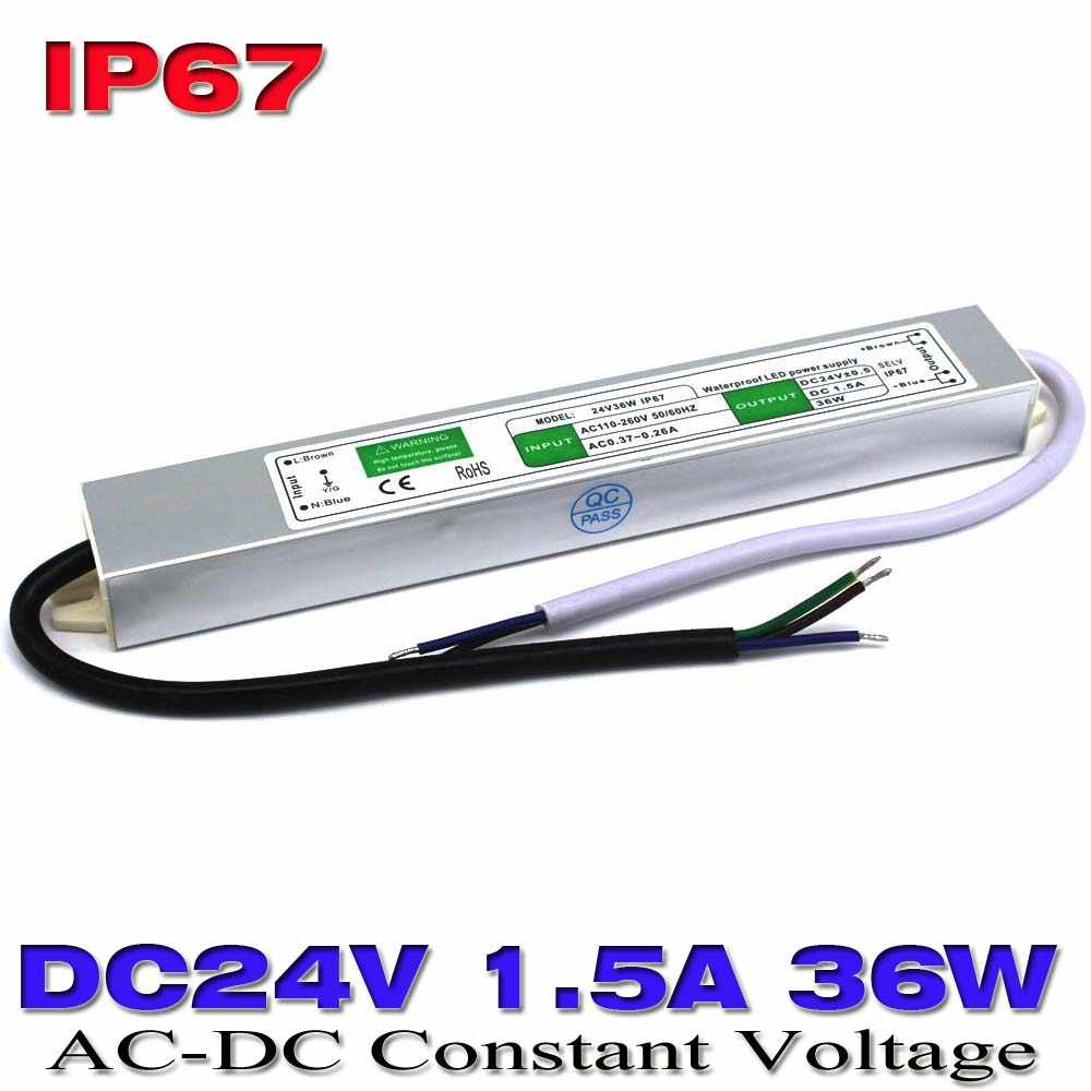 Tahan air ip67 Switching Power Supply DC 24 V 1.5A 36 W AC100V-240V Driver Transformer AC-DC SMP Untuk outdoor LED Strip lampu