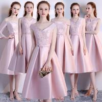 New Women Embroidery Elegant Lady Summer Dress Vestidos Party Prom A Line Dress Pink Bridesmaid Midi Dress Wedding Party Dress