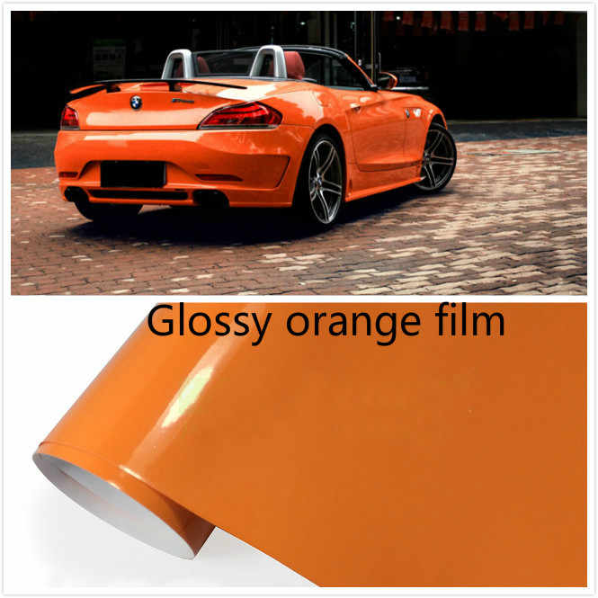 200mmx1520mm  Glossy Orange  vinyl  Auto Car Styling Car and motorcycle sticker Vinyl Wrap Film  Air Release Sticker Decal Sheet