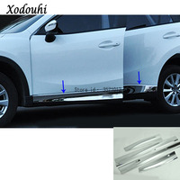 For Mazda CX 5 CX5 2013 2014 2015 2016 car detector ABS chrome Side Door Body trim stick Strip Molding bumper hoods part 4pcs