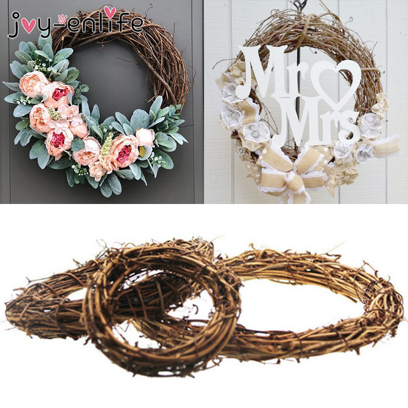 1pcs Wedding Decoration 10-30cm Summer Party Wedding Wreaths Decoration Garland Material Rattan Wreath DIY Wreath Party(China)