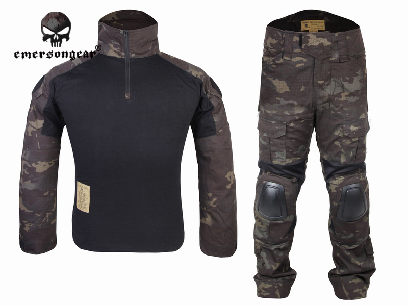 Emersongear Gen2 Combat uniform Shirt&Pants with knee elbow pads Tactical Gear Military Camouflage MCBK Multicam Black EM6971 military uniform multicam army combat shirt uniform tactical pants with knee pads camouflage suit hunting clothes