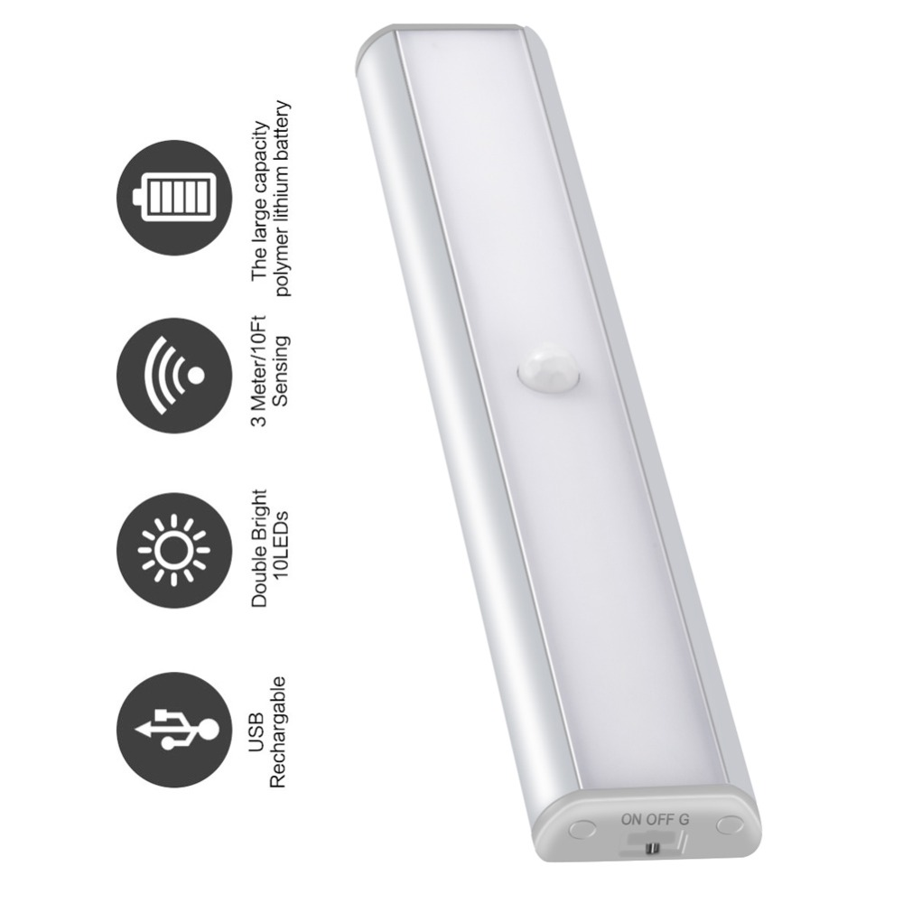 USB Portable LED Under Cabinet Light Motion Sensor Closet Wall lamp Rigid Strip Bar Light and Wardrobe Emergency Night light pir motion sensor 20 led under cabinet light closet wall lamp led rigid strip bar light kitchen wardrobe emergency night light
