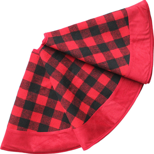 free shipping 90cm plaid christmas tree skirt with polar fleece border buffalo check