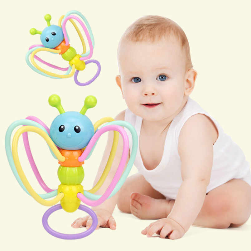 Baby Rattles Toy Food Grade Teething Rattle Plastic Hand Bell Intelligence Grasping Gums Baby Teether Toy for 0-3 years