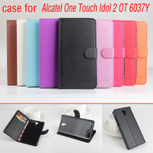 Alcatel One Touch Idol 2 OT 6037 K case, Leather Case Задняя крышка Для Alcatel One Touch Idol 2 OT 6037 K 6037B 6037Y 6037