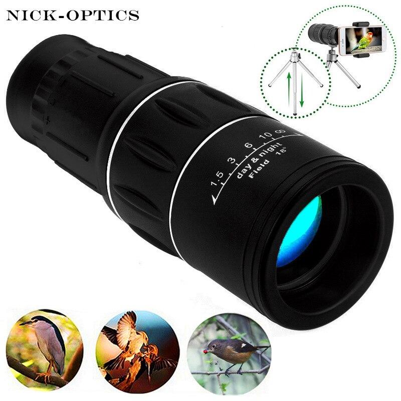 16x52 Monocular Leistungsstarke Teleskop Wandern Lll Nachtsicht Fernglas Für Vogel-beobachten Hd Optische Linse Hohe Vergrößerung Zoom