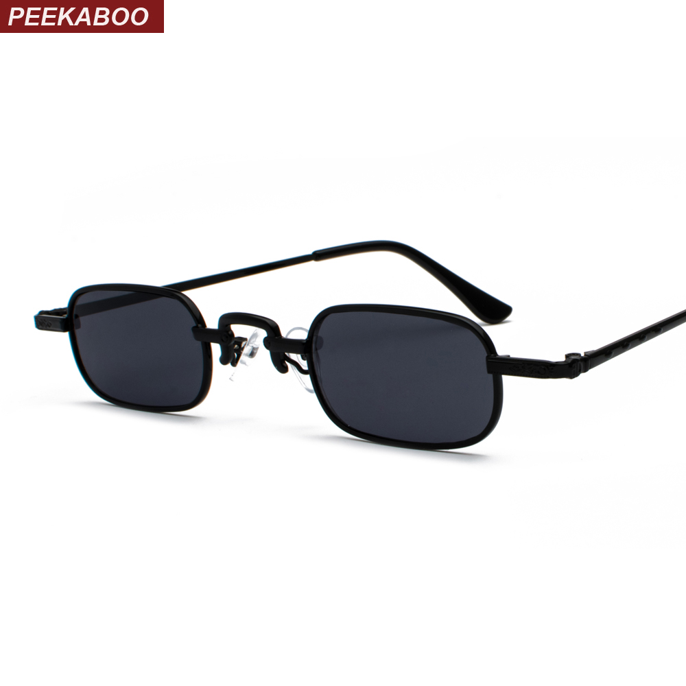 Peekaboo small narrow rectangle sunglasses men retro 2019 clear lens metal frame male sun glasses for women square black