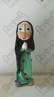 Зеленое платье черный тюрбан женщина талисман костюм с мультяшным принтом арабских