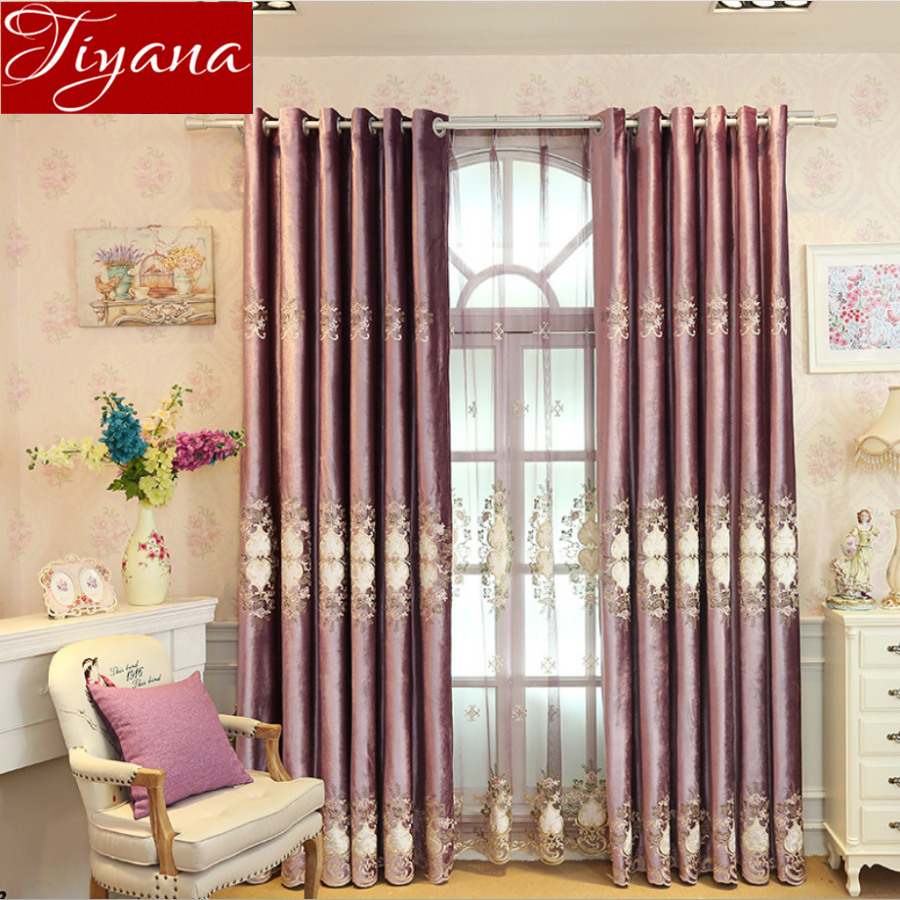 Purple Velvet Embroidered Voile Window Screen Curtain For Living Room Luxury Floral Tulle Curtain Window Bedroom Drapes X426 #30