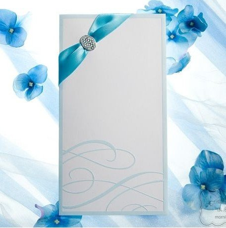 Free Shipping 100pcs Lot Blue Ribbon Wedding Invitation Cards
