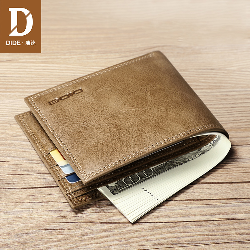 DIDE Short Wallets Purses Id-Card-Holder Business Slim Male Genuine-Leather Brand Casual