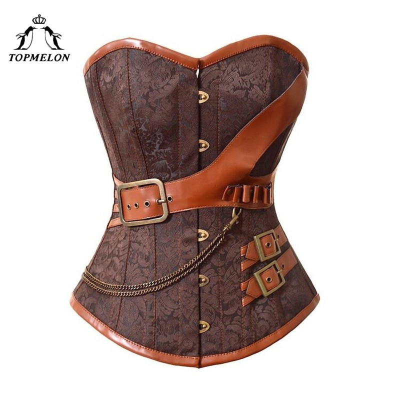 TOPMELON Vintage   Bustier   Steampunk   Corset   Gothic Corselet Women Chains Buckle Floral Strap Lace Up Tops for Shows Party Club 6XL