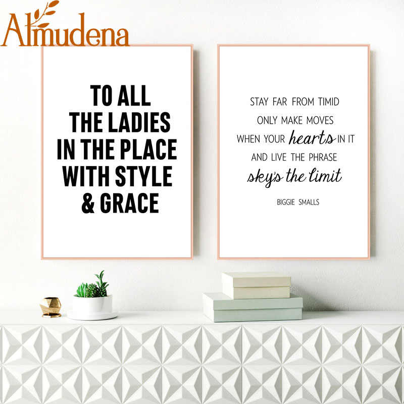 Almudena Notorious B I G Motivational Quote Canvas Painting Biggie Smalls Sky S The Limit Rap Lyrics Wall Poster Print Unframed