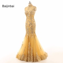 Yellow Long Slim Mermaid High Collar Flower Appliques Prom Dress