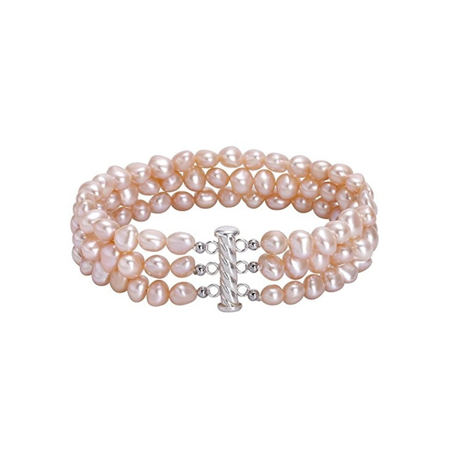 White/Pink Purple Baroque Pearl 925 Sterling silver Gold Color Magnet Clasp Bracelet Fashion Jewelry
