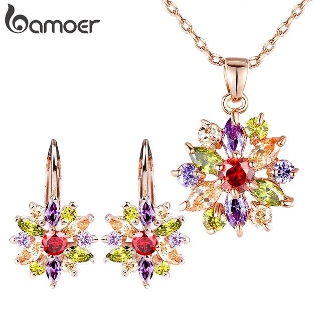 BAMOER יוקרה זהב צבע פרח כלה תכשיטי סטים & יותר עבור נשים חתונה עם צבעוני מעוקב זירקון אירוסין תכשיטים