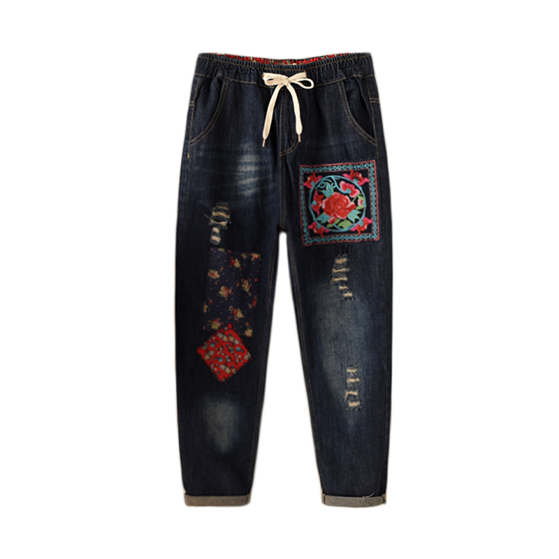 Casual Loose New Retro original washed ethnic style embroidery flowers jeans Red Pattern trousers large size women's pants casual loose sleeveless embroidery leaf pattern cami