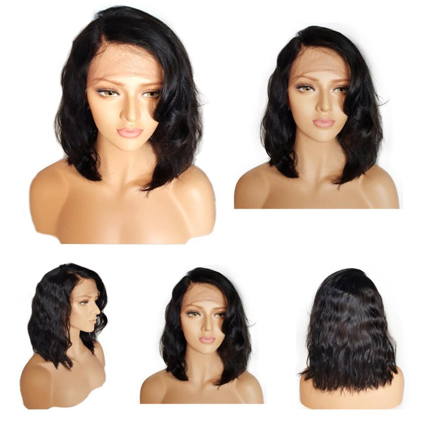 Women Short Glueless Lace Front Human Hair Wigs With Baby Hair 16 Inch Brazilian Leibo Wig 5U1017