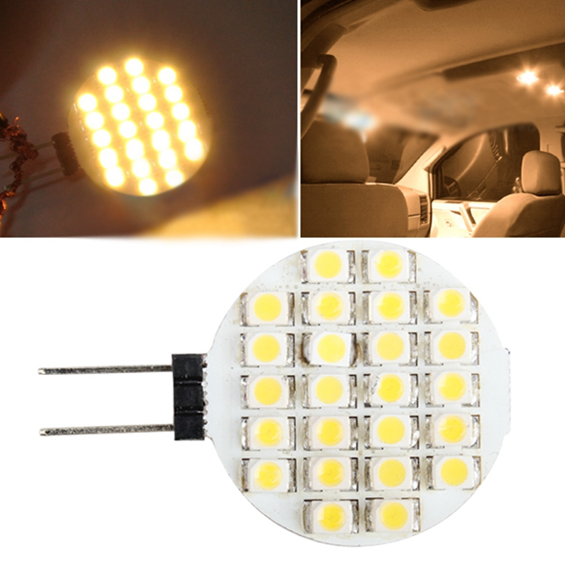 Car-styling G4 24SMD LED Warm White Marine Light Bulb DC 12V Auto Truck Boat RV Light-emitting Diode Round Interior Lamp Panel ...