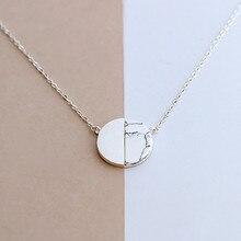925 Sterling Argent Naturel marbre Ronde Colliers et Pendentifs Pour Les Femmes Style Simple Sterling-argent-bijoux