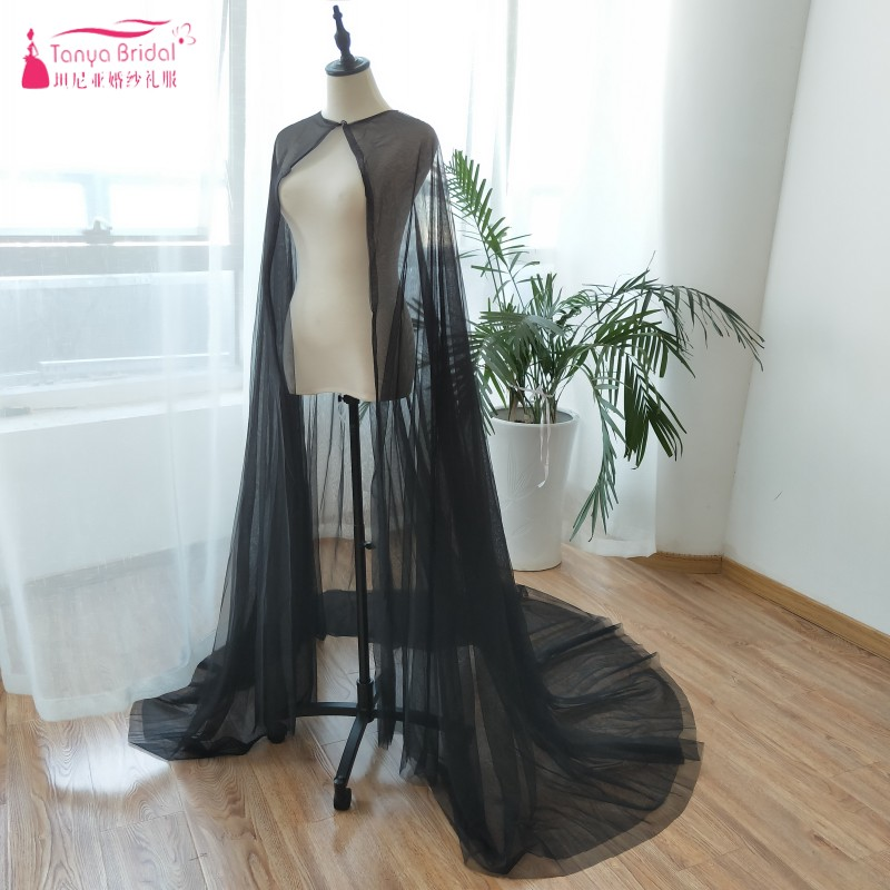 Black Cape For wedding Two Layer Tulle Cloak 2m Length Cosplay Accessories Halloween Wear Cheap Bridal