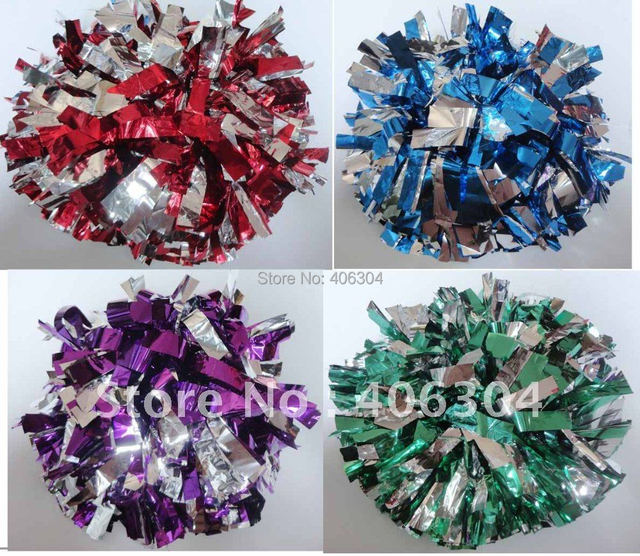 150G Fadeless not fading Cheering Metallic pompom with baton handle in the middle, Cheerleading pompom products ballroom costume