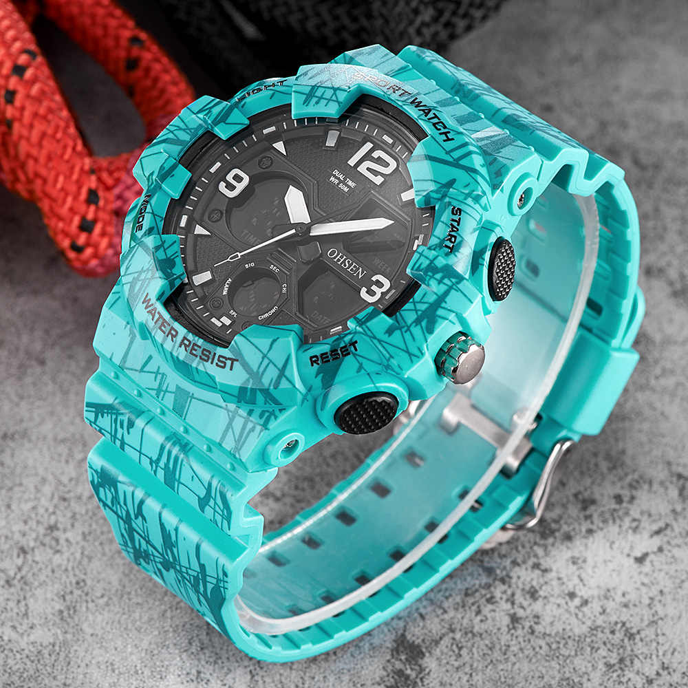 Montre Homme OHSEN Fashion Quartz Digital Watch Men LED Man Army Wristwatch Camouflage Blue Rubber Band Swim Sport Watch Relogio