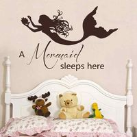 Mermaid Wall Decals Quote A Mermaid Sleeps Here Vinyl Decal Sticker Baby Girl Nursery Room Bedding