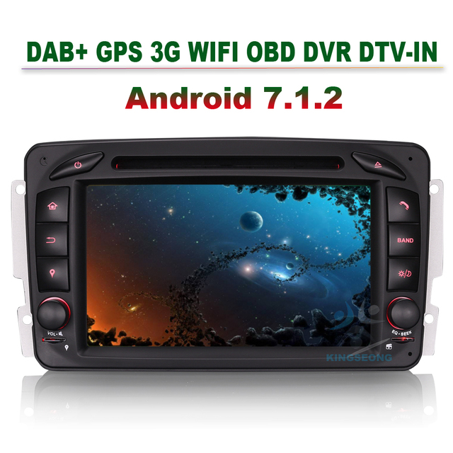 2 Din 4-Core Android 7.1.2 GPS Sat Nav Car DVD Player for Mercedes Benz C-Class  CLK C209 W209  Viano Vito W639 G-Class W463 3G