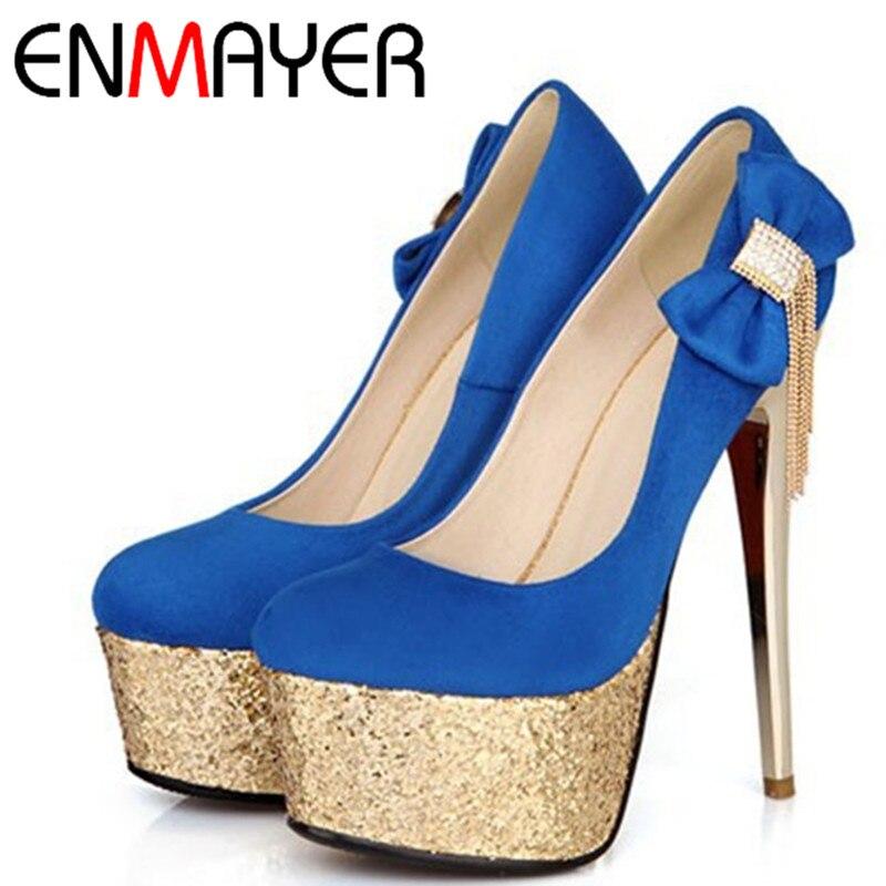 ФОТО ENMAYER Sexy Ultra-high Thin Heels Women Shoes Bowtie Rhinestone Sparkle Women Pumps Fashion Round Toe Platform Women Shoes