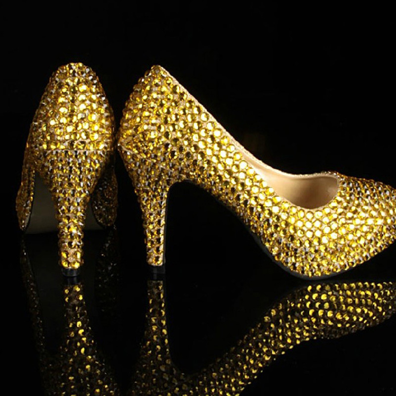 baedb27ff9f Sexy Gold Color Party Shoes with Rhinestones Women Wedding Dress Shoes for Bridal  Women High Heels Pumps Girls Dress Shoes-in Women s Pumps from Shoes on ...