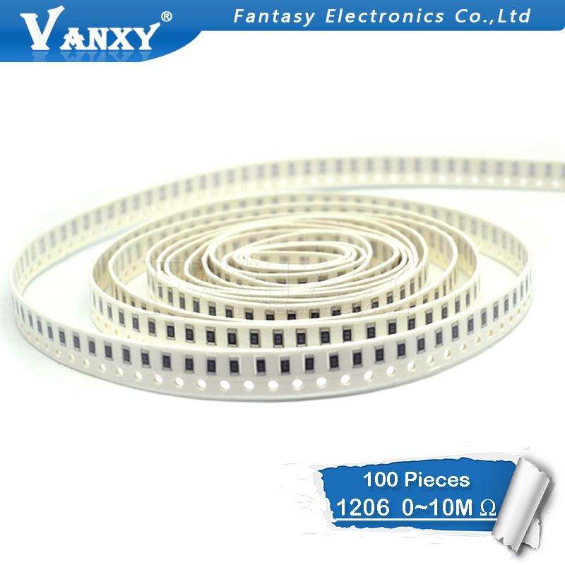 100 pces 1206 smd resistor 0r ~ 10 m 1/2 w 0 1 10 100 150 220 330 ohm 1 k 2.2 k 10 k 100 k 0r 1r 10r 100r 150r 220r 330r