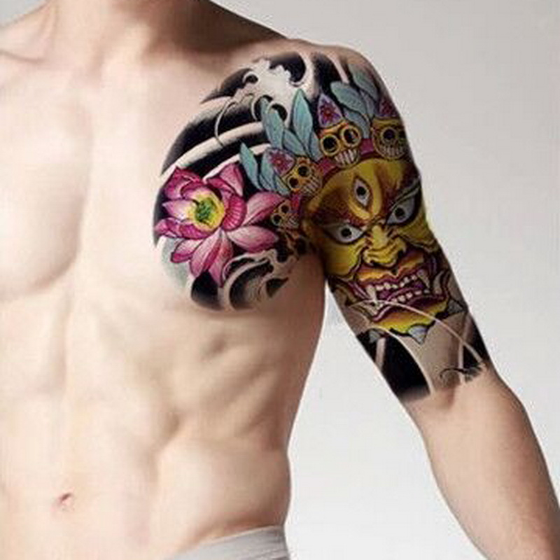 Large Size Temporary Tattoo On Chest Body Arm Shoulder Cool Fake Tattoos Water Transfer Tattoo For Men Big 32 24cm Tatto Sticker Temporary Tattoos Aliexpress