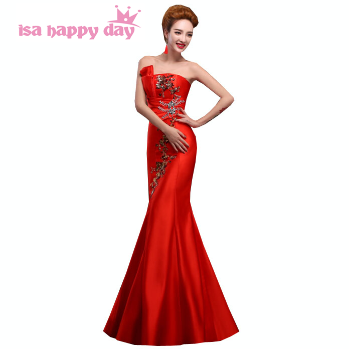 Red Blue Strapless Bridesmaid Mermaid Bridesmade Ladies Dress Formal Long Satin Birthday Party Dresses For Adults Satin H2118