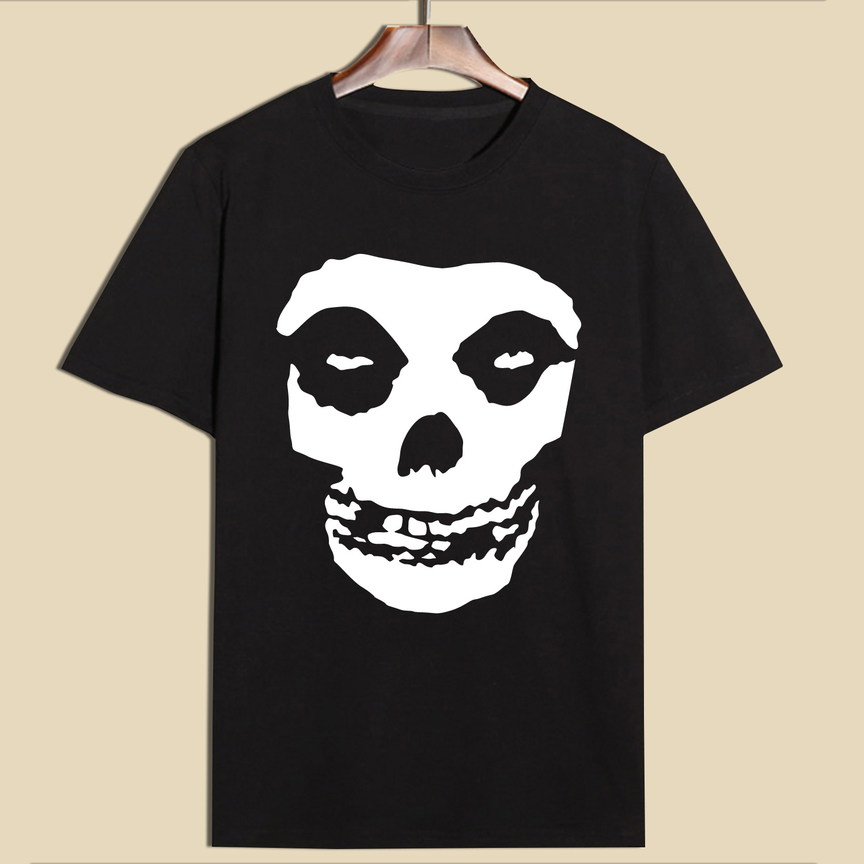 Hillbilly नई आगमन 100% कपास Misfits खोपड़ी मुद्रण टी शर्ट्स 2017 ग्रीष्मकालीन ग्रे टी शर्ट पुरुषों लघु आस्तीन O- गर्दन टीज़ और टॉप