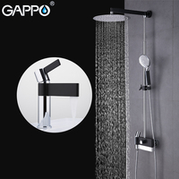 GAPPO Basin Faucets waterfall brass water tap chrome and black faucet mixer shower set with basin faucet bathroom shower system