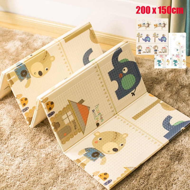200*150 CM Foldable Baby Play Mat Animal Pattern Infant Children Mat Baby Game Foam Pad Kids Rug Speelkleed Puzzle Non-slip  Mat