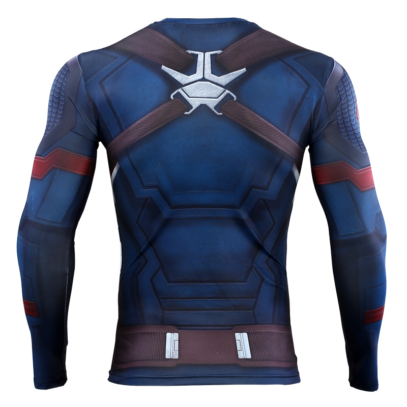 3D Captain America T-shirt Cosplay Avengers Endgame Captain America Costume Avengers 4 Steve Rogers T-shirts Sport Tight Tees1