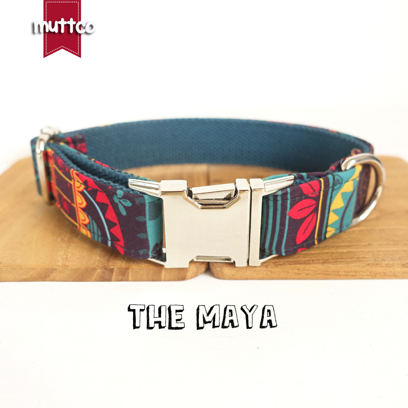 MUTTCO retailing special ethnic style coloful handmake soft dog collars THE MAYA self created dog collar