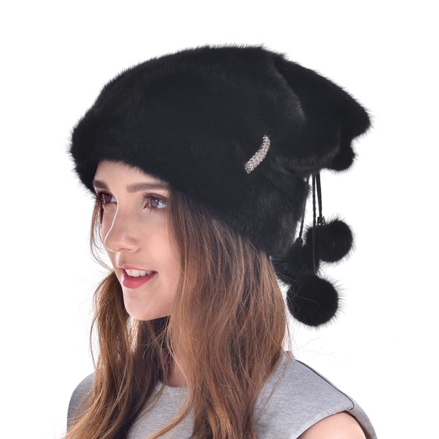Russian Mink Fur Hat Women 2016 New Winter Real Mink Fur Hat With Pom Europe Ear Protector Luxury Fur Caps High End LH439
