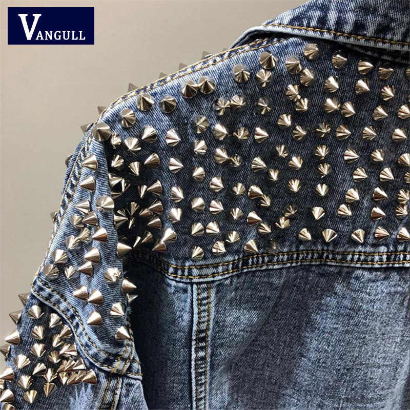 VANGULL женская джинсовая куртка с заклепками 2019 Весенняя уличная одежда с длинным рукавом карманы женские джинсы куртки Свободная короткая верхняя одежда Femme