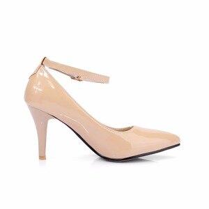 Image 2 - אופנה גבוהה עקבים נשים משאבות נעלי אלגנטי קרסול רצועות ThinHeels מוצק מזדמן קלאסי אדום עירום חתונה נעלי אישה גודל גדול