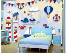 Aangepaste foto wallpaper 3d muurschilderingen behang Hand getrokken nautische cartoon TV achtergrond behang muurschildering home decor