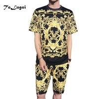 2018 Summer Set Men Causal 3D printing Hip Hop Short Sleeve Shorts Sweatsuit+Pants Fashion Tracksuit Mens Track Suit Two Pieces