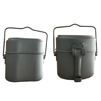 Army Lunch Box 3pcs in 1 Outdoor Camping Travel Tablewares WWII Germany Military Mess Kit Canteen Kettle Pot Food Cup Bowl 5