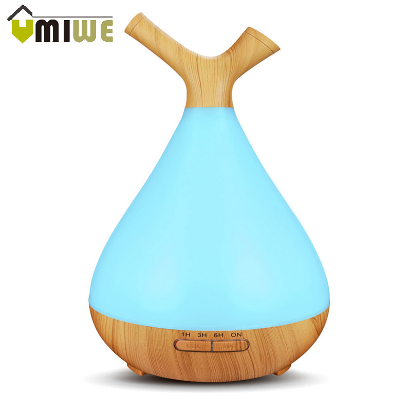 400ml Wood Grain Air Aroma Essential Oil Diffuser Cool Mist Ultrasonic Diffuser Humidifier with 7 Color LED Light for Home Room air humidifiers essential oil diffuser for home ultrasonic humidifier perfumes aroma diffuser mist maker with 7 color led light