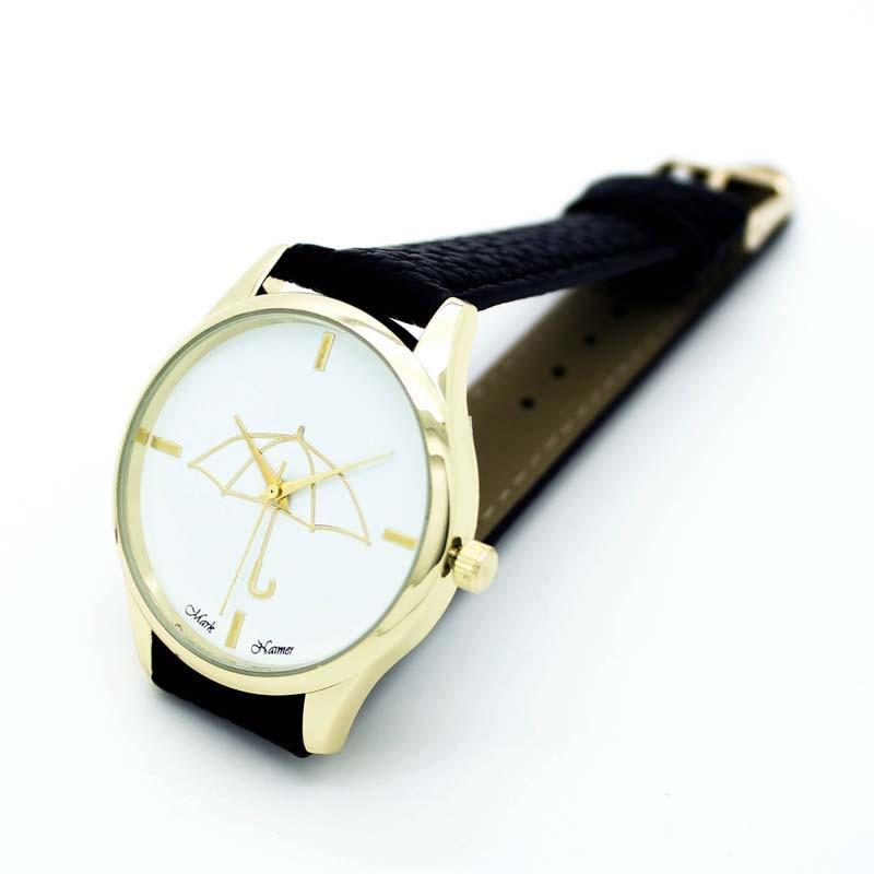 Womens Watches Umbrella Pattern PU Leather Band Analog Quartz Wrist Watch Fashion Ladies Watches Casual Female Watch Clock 2019