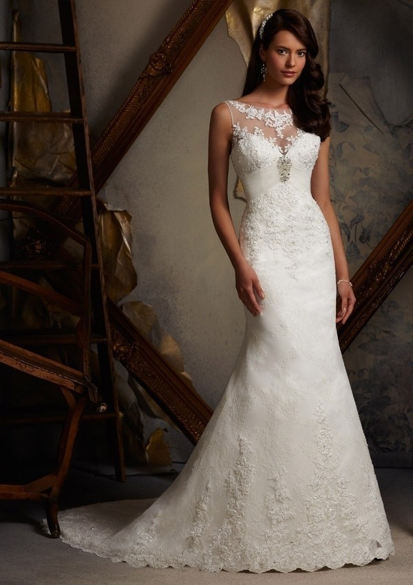 Elegant Sheer Top Backless Empire Waist Lace Wedding Dress Wedding ...